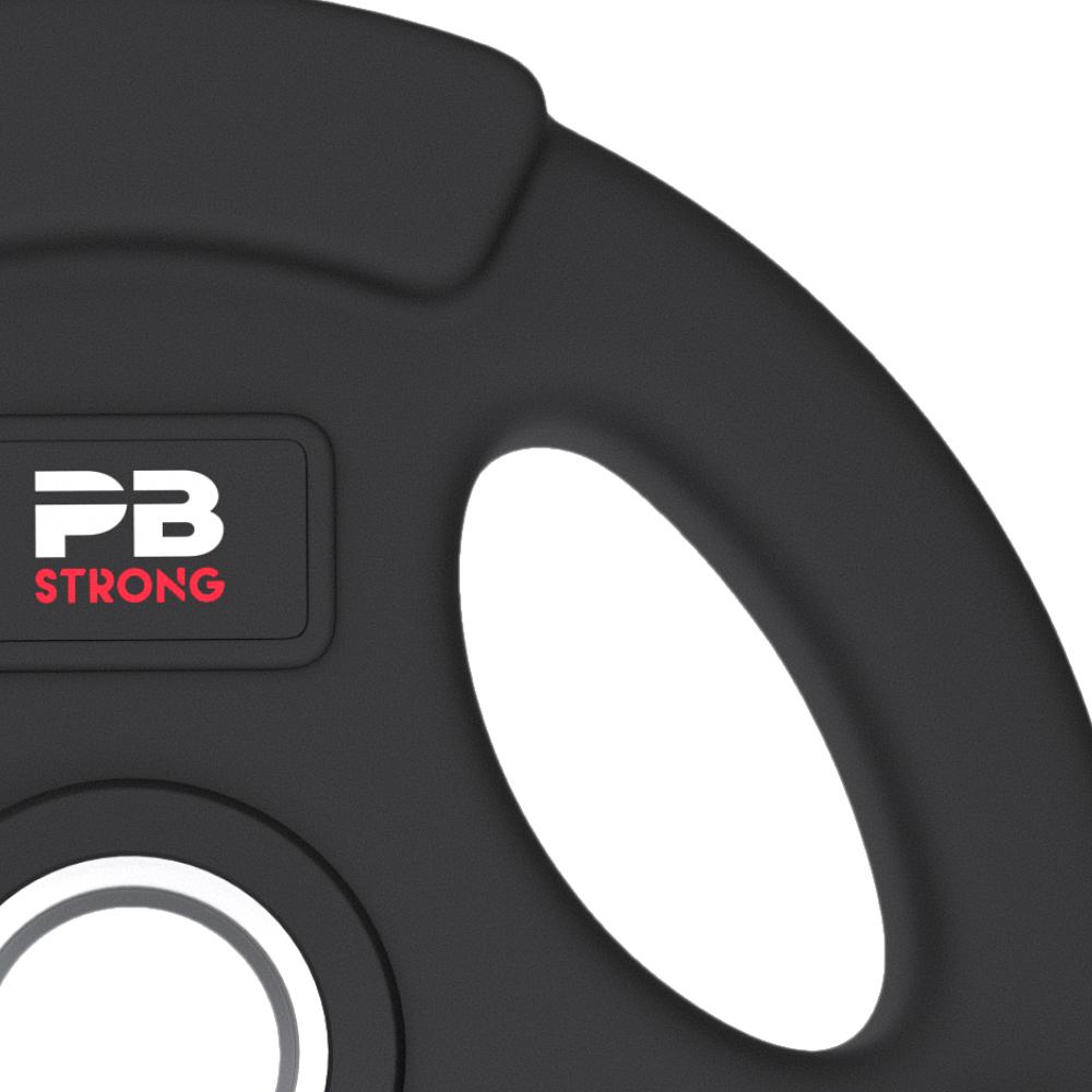 PB Strong 3-Griff Hantelscheibe gummiert Schwarz (Stk) 5 kg